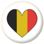 Belgium Country Flag Heart 25mm Button Badge